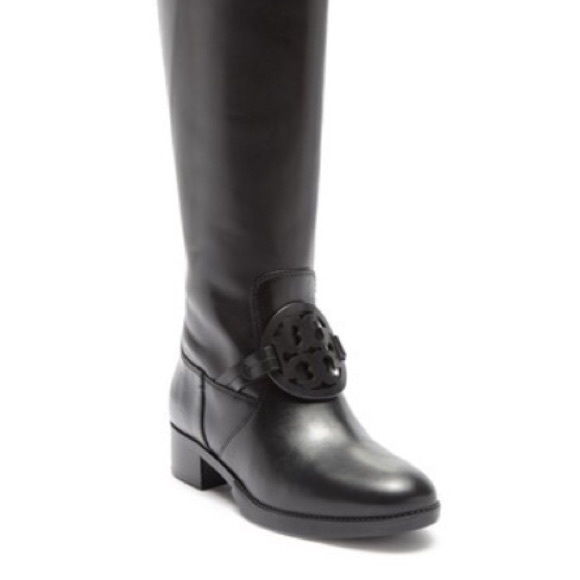 65b7bb89c7e Tory Burch Miller Black Leather Tall Pull On boots
